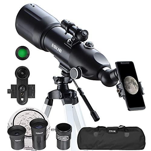 ESSLNB Telescopio Astronomico 80/400 Telescopio Astronomico Professionale con 80 mm Lente Completamente Rivestita Adattatore Telefonico 10X Treppiede Regolabile Lente Barlow 3X Borsa e Filtro Lunare