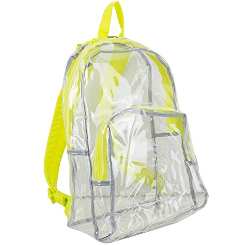 Eastsport Mochila Clara, Transparente con Borde Amarillo Neon