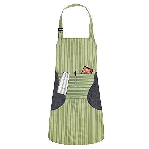 MaYee Grembiule Cucina Impermeabile Regolabile 2 Tasche Ristorante BBQ Cottura Partito Chef Grembiuli per Adulto Donna Uomo