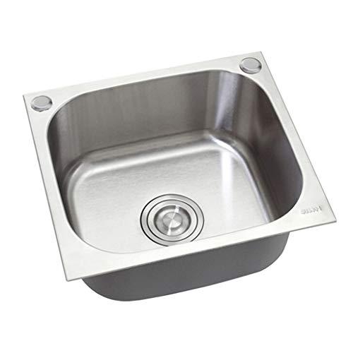 Topmount Küchenspüle Edelstahl 2-Loch Single Bowl Küchenspüle Kleine Quadratische Home Spüle Mit Sieb (ohne Wasserhahn)