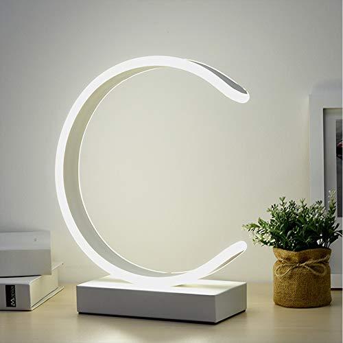 ASMCY Moderno LED Lámpara de mesa 3 Temperatura de color Estilo nórdico Lámpara de mesa Lampara de lectura Con Cambiar, Lámparas de noche de decoración Para Cuarto Sala de estar Oficina,Blanco