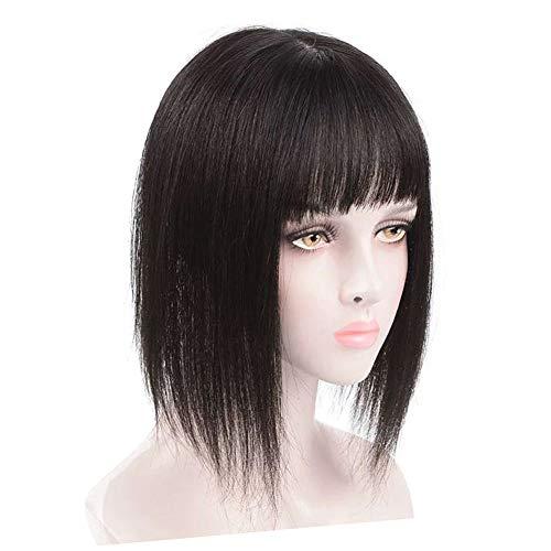 Bang Topper Echthaar Clip-On Scheitel Volumen Haarteil für Frauen mit grauem und dünnem Haar