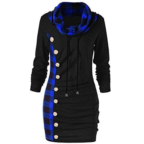 Kanpola Weihnachtskleid Damen Hoodie Kleid Langarm Kariertes Kapuzenpullover Pullover Winter Knopf Sweatshirt Elegant Shirtkleider Schmaler Rock