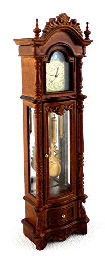 Melody Jane Dollhouse Working Walnut Chippendale Revival Grandfather Clock Miniature JBM