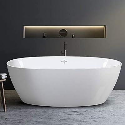 "67"" Freestanding Bathtub Oval Freestanding Soaking Bathtub, 02119-67'' Glossy White, cUPC Certified, Brushed Nickel Drain and Minimalist Linear Design Overflow"