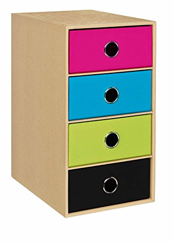 Rössler 15241105999 - 4er Schubladenbox, mit Griffloch,  Nature Mix