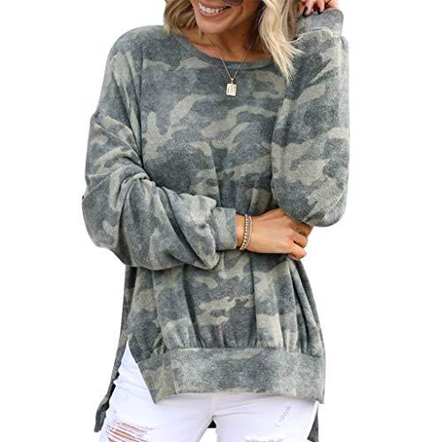 yueyang Damen Langarm-Sweatshirt, Rundhalsausschnitt, Camouflage, Seitenschlitz, hoher niedriger Saum, Tunika, Tops
