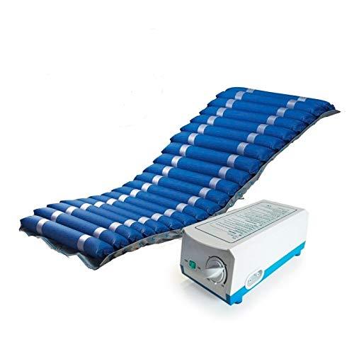 Colchón antiescaras de aire , Para escaras de grado I y II , Con compresor , Nylon y PVC , 200 x 86 x 9.5 , 20 celdas , Azul