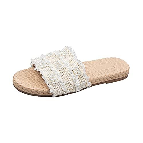 Sandali Estivi Outdoor Belle e Comode,Pantofole Piatte alla Moda con Tacco Basso,Adorabili Sandali di Perle-Beige_39 EU,Semplici Moda Pantofole Morbida Antiscivolo