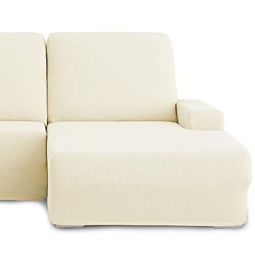 Eiffel Textile Milan Fundas para Sofa Elastica Adaptable Lisa, 94% poliéster 6% Elastano, Marfil, Chaise Longue Derecha