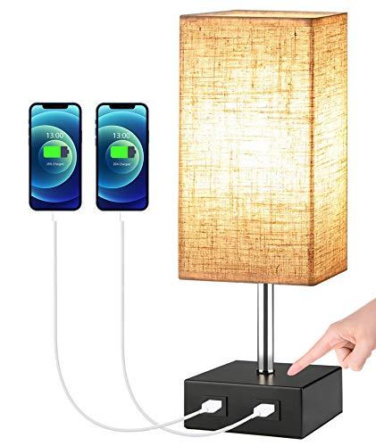 Lámpara de Mesita de Noche táctil,SchuBel lámpara de mesa LED moderna con 2 puertos USB, Luz de Nocturna regulable, Lámpara Escritorio para dormitorio y sala de estar, con bombilla (beige)