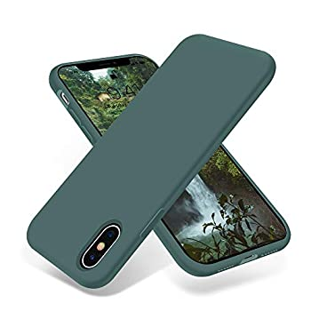 OTOFLY Compatible with iPhone X Case,Ultra Slim Fit iPhone Xs Case Liquid Silicone Cover with Full Body Protection Anti-Scratch Shockproof Bumper,Soft Microfiber Lining 5.8 inch  Pine Green