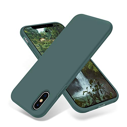 OTOFLY Compatible with iPhone X Case,Ultra Slim Fit iPhone Xs Case Liquid Silicone Cover with Full Body Protection Anti-Scratch Shockproof Bumper,Soft Microfiber Lining 5.8 inch, (Pine Green)