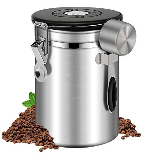Kaffeedose Luftdicht 500g Kaffeebehälter Edelstahl Aromadose Vorratsdose Kaffeebohnenbehälter Aromadicht Vakuum Kaffeebox mit Löffel für Kaffeebohnen Kaffeepulver Tee Nüsse Kakao Aufbewahrung Schwarz