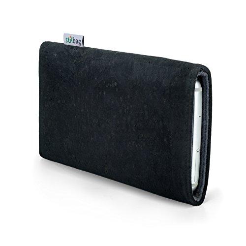 stilbag Handyhülle VIGO für Motorola Moto X 2.Gen | Smartphone-Tasche Made in Germany | Kork anthrazit, Wollfilz grau
