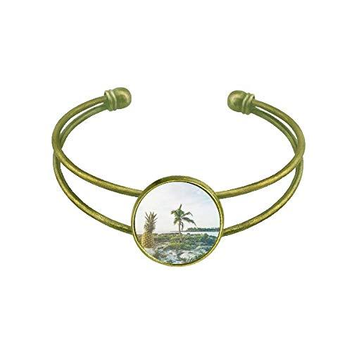DIYthinker Ocean Sand Strand PineFruit Tree Sea Armband Armreif Retro Open Cuff Schmuck