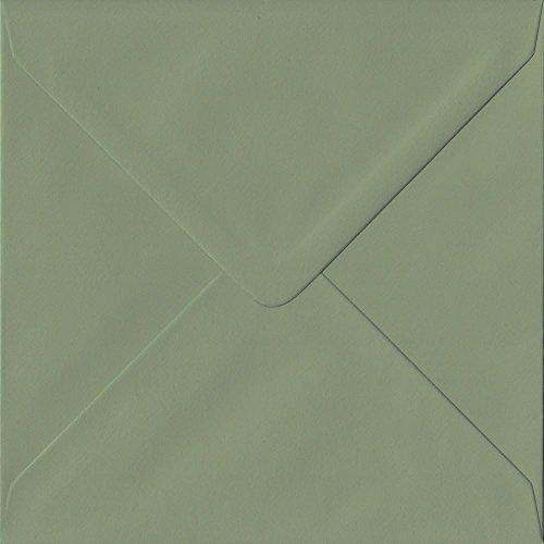 50Stück Vintage Grün 155mm x 155mm Gummierung, 135GSM Luxus quadratisch Farbige Umschläge grün. GF Smith colorplan Papier.