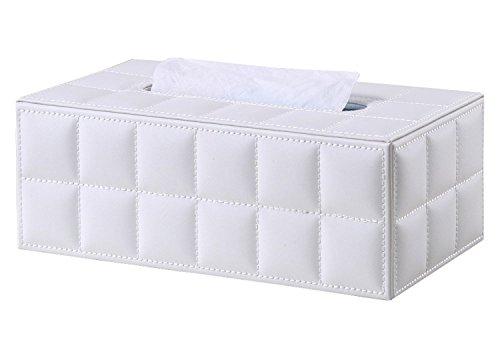 Zedtom PU-leder Kosmetiktücherbox Taschentuchspender, 25*14*9.5cm (Weiss)