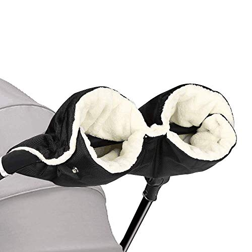 Kinderwagen Handwärmer, Handschuhe Kinderwagen Handmuff mit Fleece Innenseite Universal Atmungsaktiv Wasserfest Winddicht Radanhänger für Kinderwagen,Buggy, Radanhänger (Schwarz) (green1)