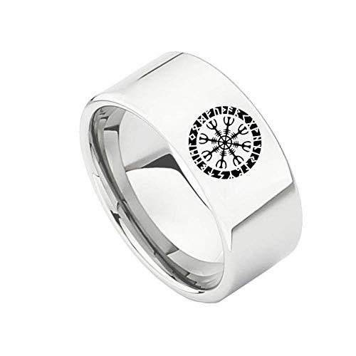 LDS Stilvolle Einfachheit 10Mm Herren und Damen Edelstahl Viking Skandinavische Flagge Ring Silber, Größe V.R