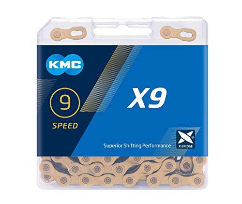 KMC X9 Ti-n Chain, Catena Unisex Adulto, Gold, 1/2' x 11/128'