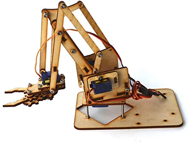 4DOF Wood Arm Mechanical Robot Arm Kit with SG90 Servo for  RC Robot Robot Arm & Tank  1x Metal Mechanical Claw, 3xLong U Shape Holder, 1x Small U Shape Holder, 1x Small U Beam Bracket