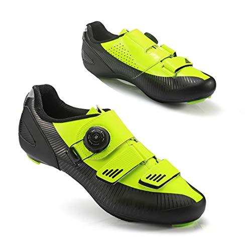 Zapatillas de Ciclismo de Carretera para Hombre, Zapatillas de Bicicleta de Carretera para spin, Zapatillas de Ciclismo MTB para Hombre Zapatillas de Bicicleta con Pedal de Bloqueo,Amarillo,EU41 UK7