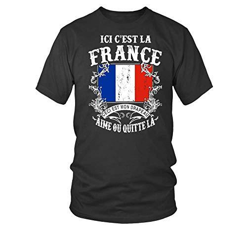 TEEZILY T-Shirt Homme Ici c'est la France ceci est Mon Drapeau Aime ou quitte la - Noir - XXL