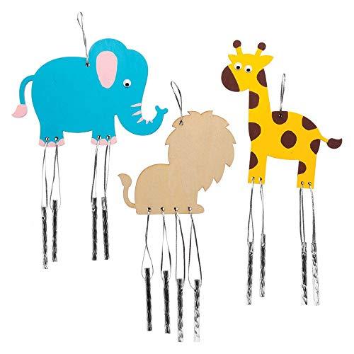 Baker Ross Carillons à Figurines Animaux de la Jungle en Bois (Lot de 4) Que Les Enfants pourront décorer et Exposer, AW486