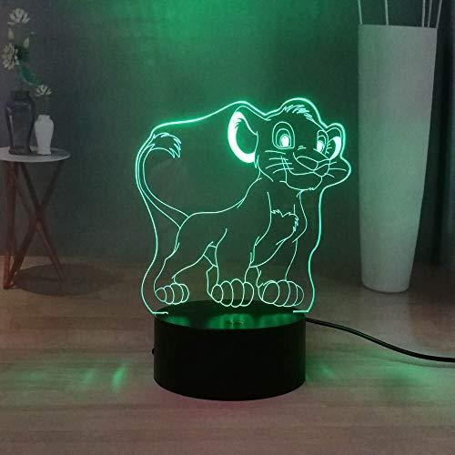 shiyueNB Mignon Simba Petit 3D Diaporama Dessin Animé Jungle Roi RVB Multicolore LED Chevet Veilleuse Enfants Jouet Cadeau