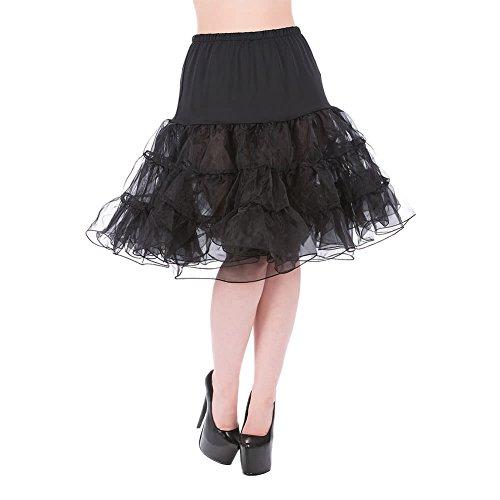 H & R London dames retro petticoat Midi - onderrok Tutu zwart knielang