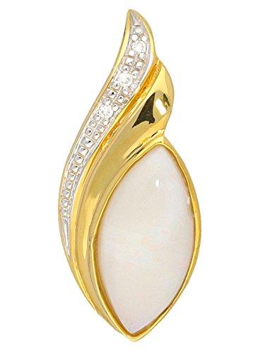 Opal Anhänger (Ohne Kette) Gelbgold 585 Gold (14 Karat) Mit Edelstein Diamant 0,015 ct. weißer Milchopal Opalschmuck 21mm x 9mm Bon Silene V0000865