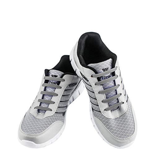 WELKOO Lacci elastici in silicone che non vanno allacciati, impermeabili, adatti a scarpe per adulti - 16 pezzi, Taglia ADULT grigio