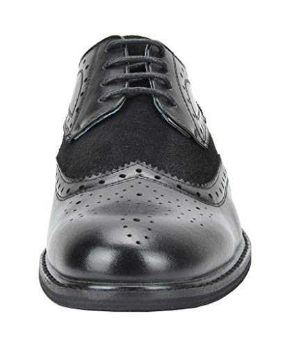 Bruno Marc Men's Prince-09 Black Leather Lined Wing-Tip Dress Oxfords Shoes – 13 M US