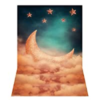 Funien 背景布,1.5 * 2.1m / 5 * 7ft写真の背景漫画の夜の空の月の星の雲の背景写真スタジオの小道具