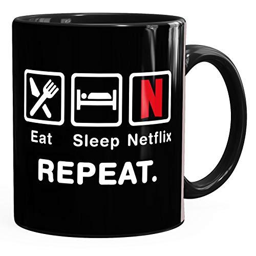 MoonWorks® Kaffee-Tasse mit Spruch Eat Sleep Repeat Mega Mix Bürotasse lustige Geschenke Kaffeebecher Netflix schwarz Keramik-Tasse