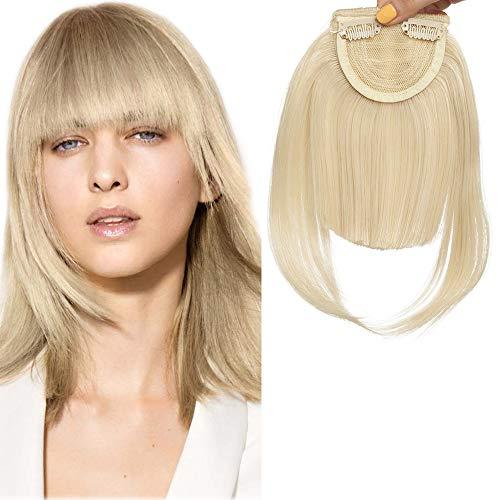 Clip in Pony Haarteil Extensions Fringe Bangs One Piece In Front Hair Verlängerung glatt wie Echthaar Gebleichtes Blond