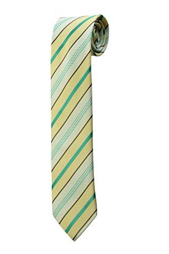 Cravate à rayures vertes et jaunes DESIGN costume homme mariage