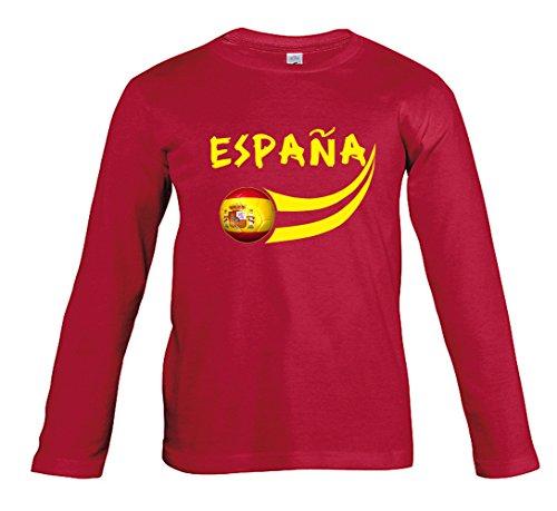 Supportershop Fußball-T-Shirt – Spanien – Kinder für 4-Jährige Rot (Rot M/L)