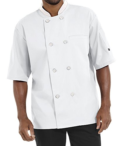 Men's Lightweight Short Sleeve Chef Coat (S-5X, 3 Colors) (Medium, White)