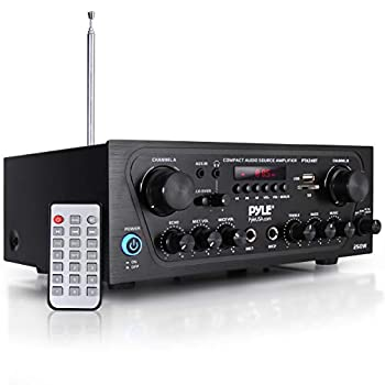 Pyle Upgraded Karaoke Bluetooth Channel Home Audio Sound Power Amplifier w/AUX-in USB 2 Microphone Input w/Echo Talkover for PA Black  PTA24BT