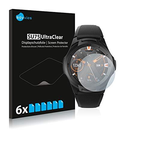 Savvies 6X Schutzfolie kompatibel mit Mobvoi Ticwatch S2 Bildschirmschutz-Folie Ultra-transparent