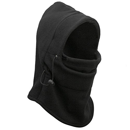 E-Tribe 6 in 1 Full Face Cover Neck Warmers Hoods CS Mask Ski Hood Balaclava/Scarf/Motor Helmet Parts/Advanced Fleeces (Black)