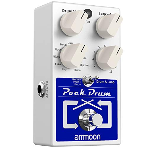 ammoon Drum & Loop Guitar Effect Pedal 3 Modes 11 Drum Styles 11 Rhythm Types Built-in Looper Max. 20min Recording Unlimited Dub Tracks Tap Tempo PockDrum