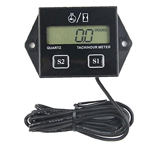 Runfon Tacómetro de Motocicleta 12V Batería reemplazada por el medidor de Hora de TAC inductiva Digital para un Motor pequeño