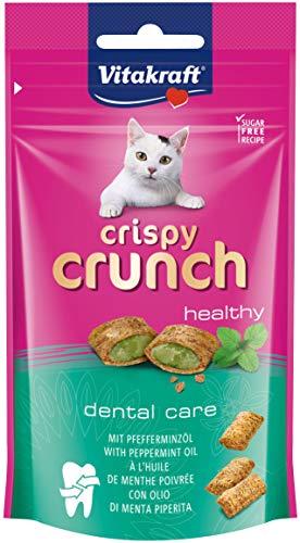 Vitakraft - Crispy Crunch, Dental Care con Menta, Snacks para Gatos Crujientes, Cuidado Dental - 60 g