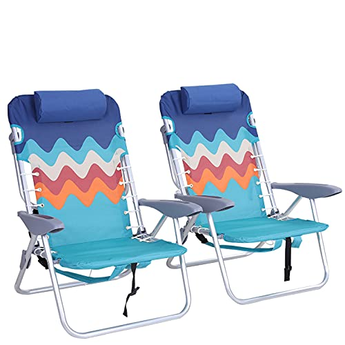 ALPHA CAMP Backpack Beach Chairs Set of 2 with Headrest 4 Position Classic Lay Flat Folding Beach Chair with Backpack Straps Support 250LBS,Blue
