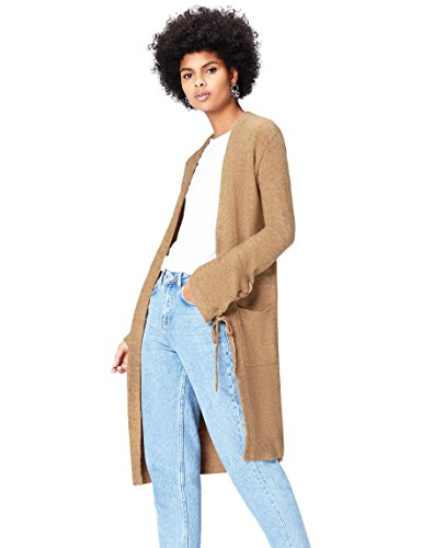 Amazon-Marke: find. Damen Strickjacke Tie Sleeve, Braun (Camel), 36, Label: S