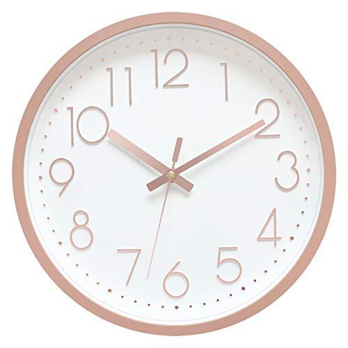 Foxtop 30cm Rund Wanduhr Kinderuhr mit geräuscharmem Uhrwerk mit schleichender Sekunde groß Quarz-Wanduhr ohne Tickgeräusche modern für Wohn- /Schlaf- / Kinderzimmer Büro Cafe Restaurant (Rosegold)