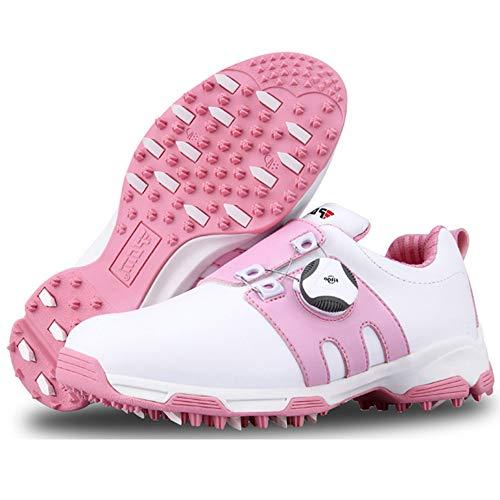 PGM-XZ099 Kinder-Golfschuhe, wasserdicht, rutschfest, Boa-Spitze, Sportschuhe, Freizeit, Pink - weiß/pink - Größe: 34 EU